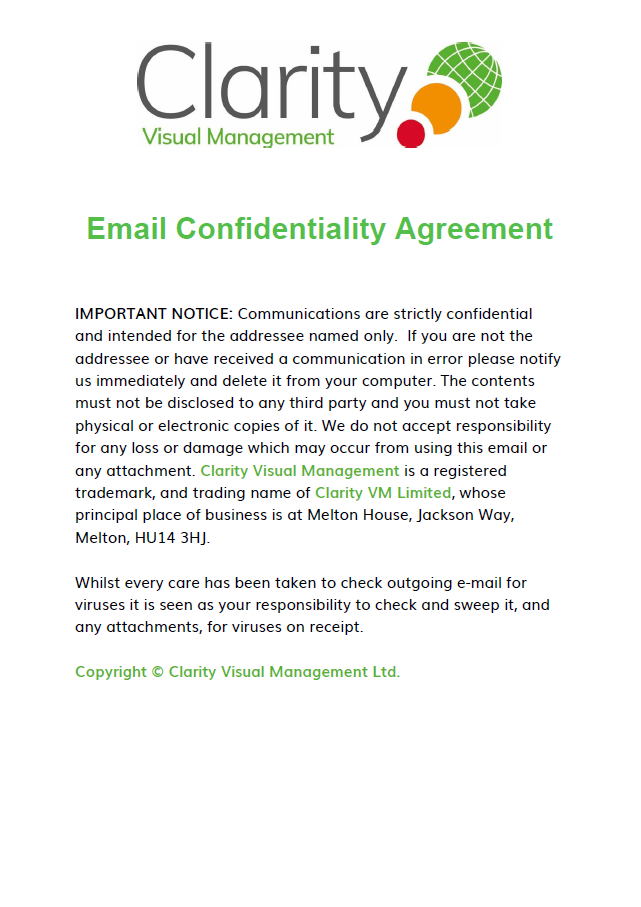 Email Confidentiality Agreement