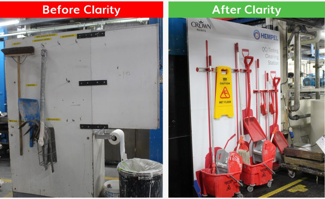 Clarity 5S Cleaning Station Before After - Clarity Visual Management